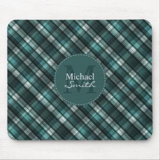 Dark Green (Blue Green) Plaid Striped Monogram Mouse Pad
