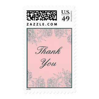 Dark Green Blush Pink Floral Thank You Stamps