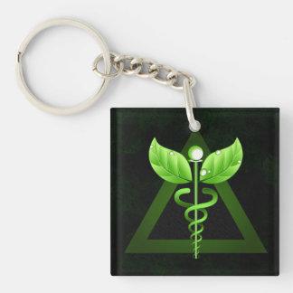 Dark Green Caduceus Alternative Medicine Symbol Keychain