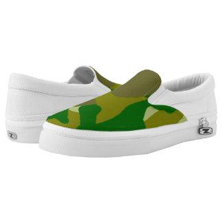 Dark Green Camo Slip-on Tennis Shoes