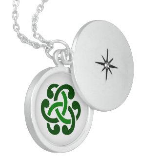 Dark Green Celtic Knot Round Locket Necklace