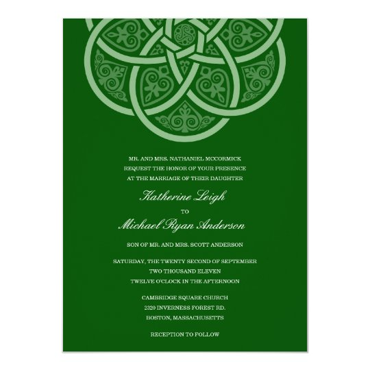 Dark Green Celtic Knot Wedding Invitations
