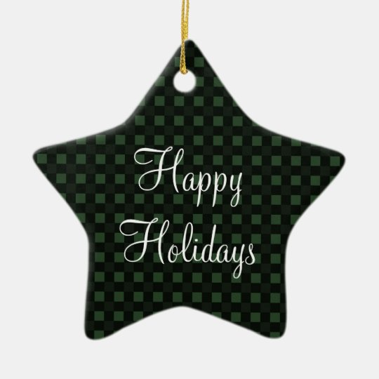 Dark Green Checkered Pattern - Happy Holidays Ceramic Ornament