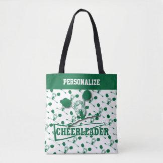 Dark Green Cheerleader Girl Tote Bag