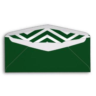 Dark Green Chevron Lined Envelope