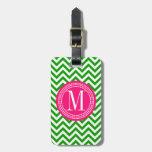 Dark Green Chevron Zigzag Personalized Monogram Travel Bag Tags