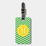 Dark Green Chevron Zigzag Personalized Monogram Luggage Tag