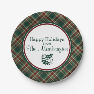 Dark Green Christmas Plaid Personalized Paper Plate