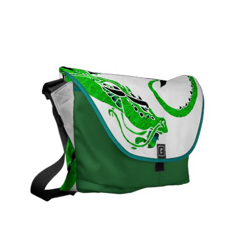 Dark Green Coiled Dragon Commuter Bag