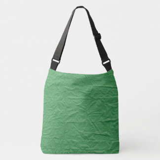 Dark Green Crumbled Paper Texture Background Crossbody Bag
