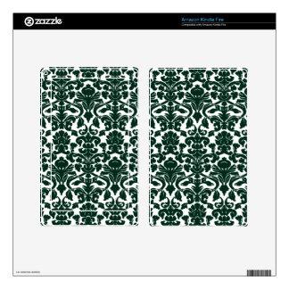Dark Green Damask Pattern Skin For Kindle Fire