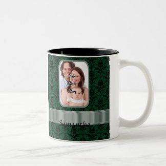 Dark green damask photo template Two-Tone coffee mug