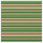 [ Thumbnail: Dark Green & Dark Salmon Colored Lines Pattern Fabric ]
