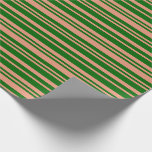[ Thumbnail: Dark Green & Dark Salmon Colored Lines Pattern Wrapping Paper ]