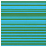 [ Thumbnail: Dark Green & Deep Sky Blue Striped/Lined Pattern Fabric ]