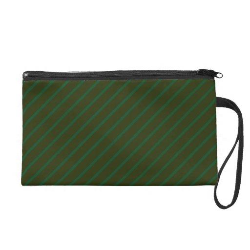 Dark Green Diagonal Striped Pattern. Wristlet Purses