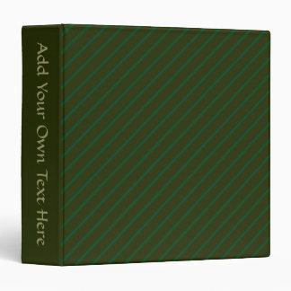 Dark Green Diagonal Striped Pattern. 3 Ring Binder