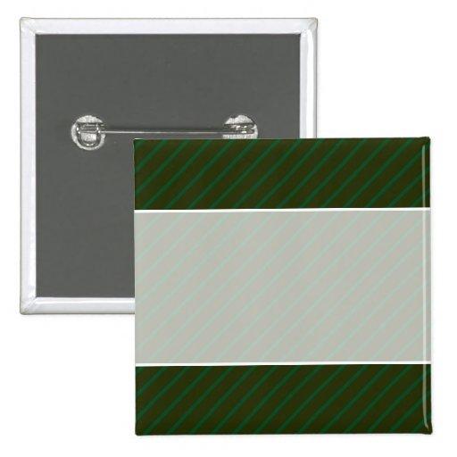 Dark Green Diagonal Striped Pattern. 2 Inch Square Button