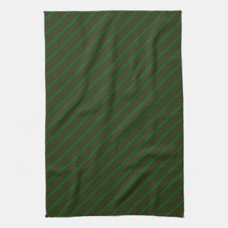 Dark Green Diagonal Striped Pattern. Kitchen Towel