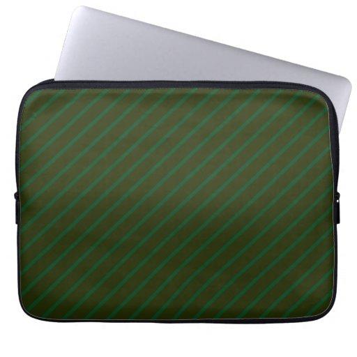 Dark Green Diagonal Striped Pattern. Laptop Sleeve