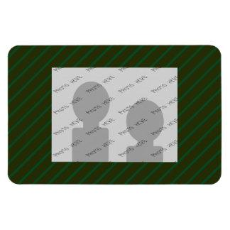 Dark Green Diagonal Striped Pattern. Magnet