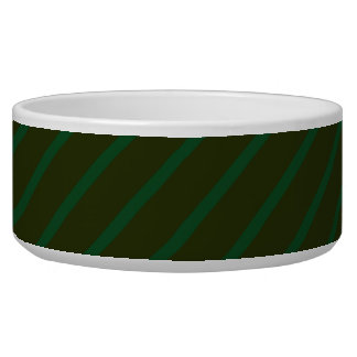 Dark Green Diagonal Striped Pattern. Dog Water Bowl