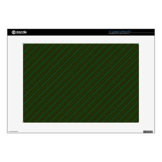 """Dark Green Diagonal Striped Pattern. 15"""" Laptop Skin"""