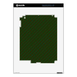 Dark Green Diagonal Striped Pattern. Skin For iPad 2