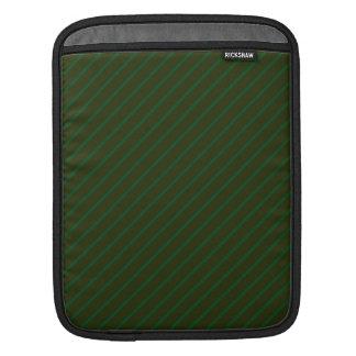 Dark Green Diagonal Striped Pattern. Sleeve For iPads