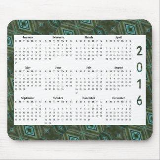 Dark Green Diamond Pattern 2016 Yearly Calendar Mouse Pad