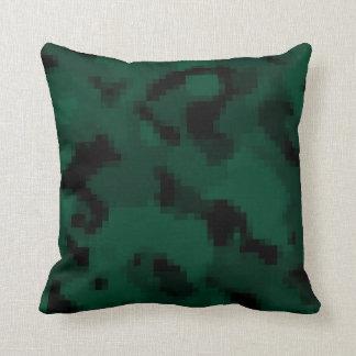 Dark Green Digital Camo; Camouflage Throw Pillow