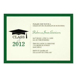 Dark green ecru cap tassel graduation announcement