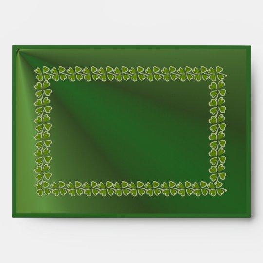 Dark Green Envelope, Shamrock Front n inside flap Envelope