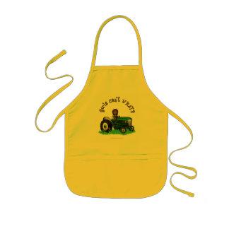 Dark Green Farmer Girl Kids' Apron