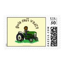 Dark Green Farmer Girl Postage