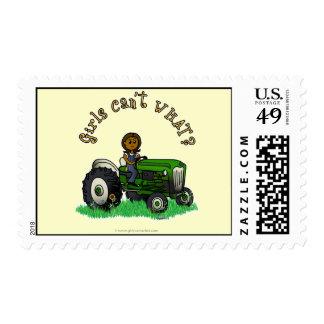 Dark Green Farmer Girl Postage Stamp