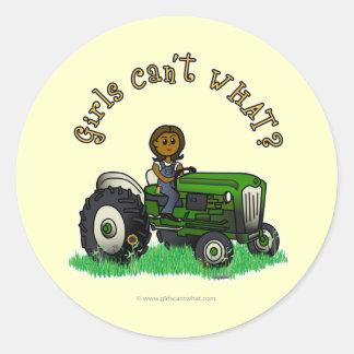 Dark Green Farmer Girl Stickers