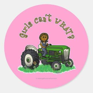 Dark Green Farmer Girl Round Stickers