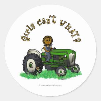 Dark Green Farmer Round Stickers