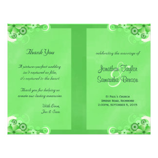 Dark Green Floral Bi Fold Wedding Program