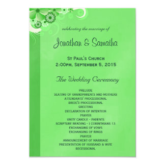 Dark Green Floral Flat Wedding Program Templates Card