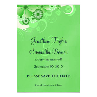 Dark Green Floral Save The Date Announcements
