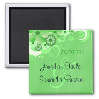 Dark Green Floral Save The Date Fridge Magnets