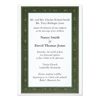 Dark Green Floral Wedding Invitation