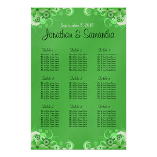Dark Green Floral Wedding Table Seating Charts