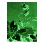 Dark Green Garden Floral Post Cards