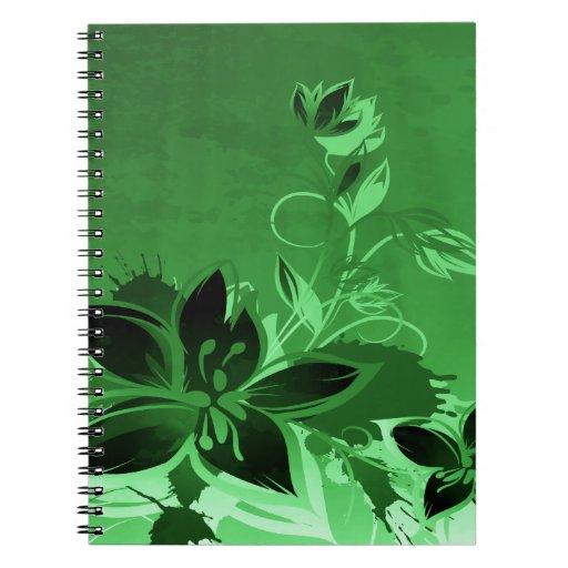 Dark Green Garden Floral Spiral Notebooks