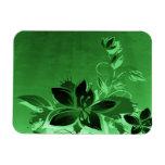Dark Green Garden Floral Vinyl Magnet