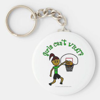 Dark Green Girls Basketball Keychain