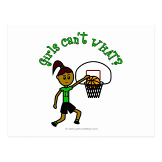 Dark Green Girls Basketball Postcard